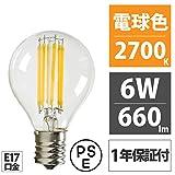 エジソン東京 LED フィラメント電球 G45 ミニクリプトン 電球色 6W ビンテージ エジソン電球 クリア電球 E17口金 PSE
