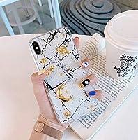 [UP-UP] 人気 iphoneXS MAXケース 6.5inch 個性 キラキラ ひび柄 大理石 マーブルストーン Marbling TPU保護カバー 立体 月 星 男女通用 擦り傷防止 背面 惑星 星空 シリコンカバー おしゃれ 黒 白 ソフトケース (iPhone XS MAX 6.5inch, white)