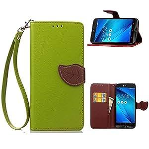 Ceavis Asus Zenfone Selfie ZD551KL ケース 全5色 手帳型ケース カードホルダー付き 小銭収納 スタンド機能付き ストラップ付き マグネット吸着 (Asus Zenfone Selfie ZD551KL, 緑色)