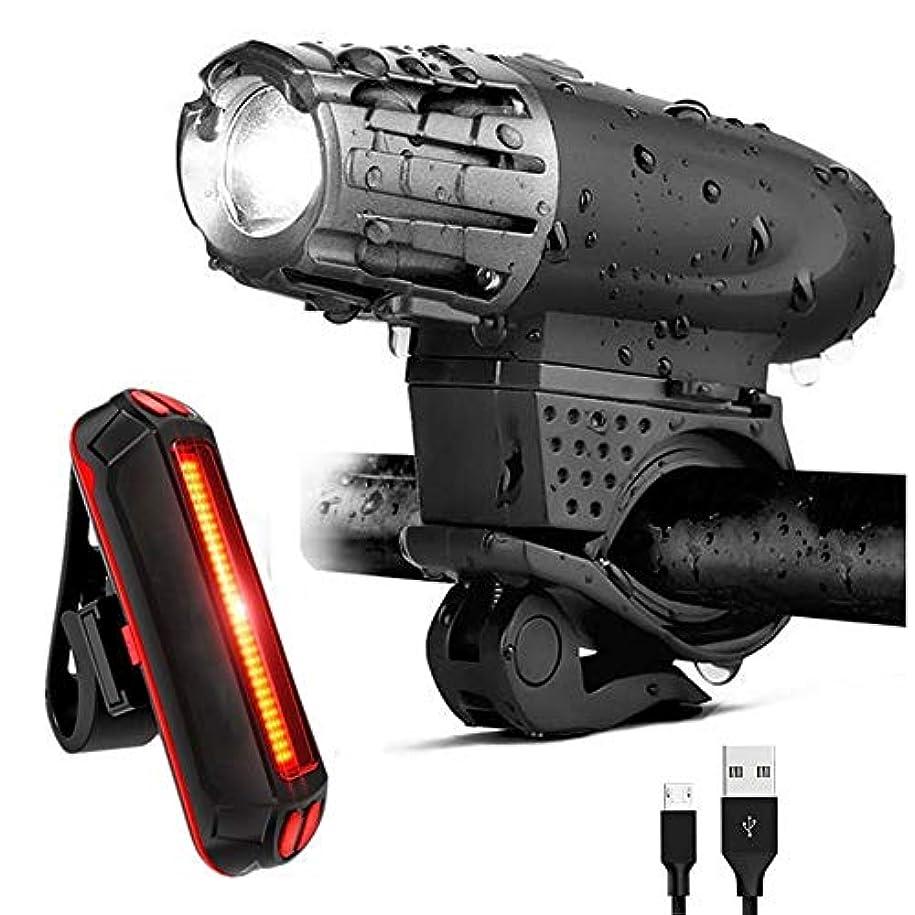 オプショナル単なるテキストJ-RH USB充電式自転車ライトセット、防水LEDフロント&バックリアライト、スーパーパワフルルーメン自転車ヘッドライト、キッズ男性女性用 (Color : Suit 1)
