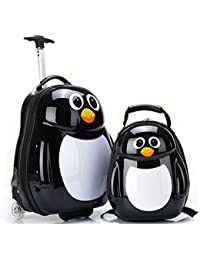 JQ trend キッズ スーツケース ランドセル 2点セット、子供の女の子 男の子、高品質のABSボックス、カラフルな動物柄のショルダーバッグ、ホイールトロリー