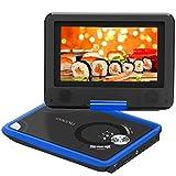 COOAU ポータブ DVDプレイヤー (液晶画面7.5インチ, 青)