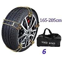タイヤ幅のための車の雪タイヤチェーンは、フォーム165ミリメートル、205ミリメートルの牽引チェーン、車SUVトラック用アンチスキッド緊急スノータイヤチェーン雪の泥をヴァリ (Size : 6pcs)