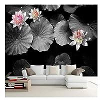 ビンテージ油絵壁の壁画黒白い花写真の壁紙3Dピンクの花壁紙用リビングルームテレビ家の装飾の習慣300センチメートル(W)* 200センチメートル(H)