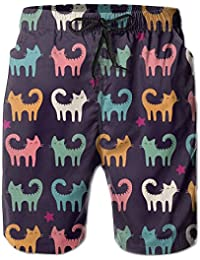 BYf Lovely Funny Catsメンズの休日ビーチ夏DrawstringsサーフボードShort Swim Trunks Cargo Shorts