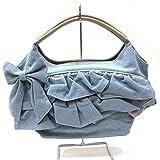 (ギャラリービスコンティ)GALLERY VISCONTI フリルデザインのデニムくり手バッグ サックス(60)