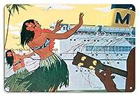22cm x 30cmヴィンテージハワイアンティンサイン - ホノルルハーバーハワイボート日 - フラガールグリーティング乗客 - マトソンナビゲーション社 - ビンテージな世界旅行のポスター c.1930s
