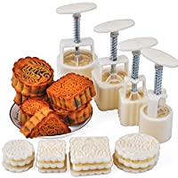 Moon Cake Mould,Laxury Hand-Pressure Moon Cake Biscuit Mould Cookie Cutter Mould 4 Sets with 12 Flower Stamps