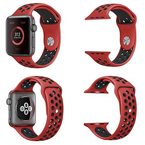 【万屋】Apple Watch スポーツバンド 全16色 高級シリコンバンド Apple Watch Series 3 / Series 2 Series 1 に向け 専用スポーツバンド 通気 汚れ防止 水洗い可 Apple Watch 人気スポーツバンド (Apple Watch 38mm, レッド+ブラック)