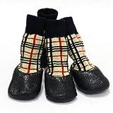 チェック柄 犬用ソックス 防水シューズ サイズM 犬用靴 4個セット ドッグウェア 防寒 肉球保護 包帯 サポータ替わり