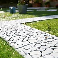 LOWYA (ロウヤ) 石畳マット 天然石 タイル 簡単カット ガーデンタイル 正方形 30.5x30.5cm 10枚セット グレー