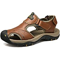 Men's Leather Sandals Beach Trekking Hiking Shoes Sports Outdoor Climbing with Velcro Closure Fitness Shoes Lightweight Closed Sandals