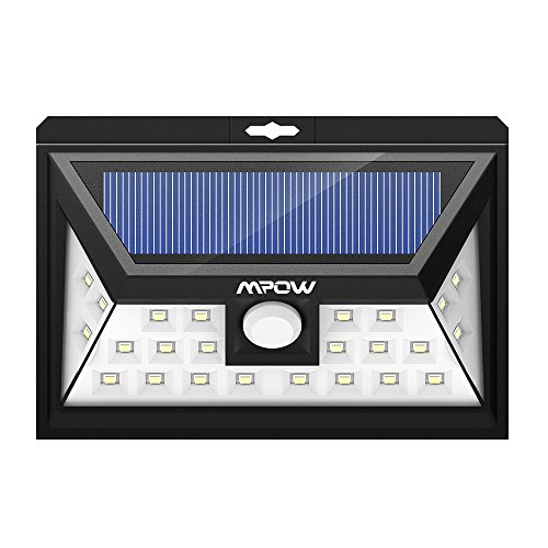 Mpow 24 LED ソーラーライト センサーライト 玄関ライト 外灯 ワイヤレス人感センサー 広角ライト 屋外照明/軒先/壁掛け/庭先/玄関周りなど対応 夜間自動点灯 三つの点灯モード 防犯用