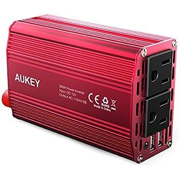 AUKEY カーインバーター インバーター 300W 車載充電器 シガーソケット ACコンセント DC12VをAC100V-110Vに変換 2.4A出力 2USBポート iPhone/Android 対応 PA-V2