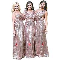JONLYC Women's A-Line Sequin Long Bridesmaid Dress Wedding Party Dress