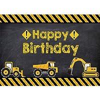 Allenjoy 7X5フィート 建設テーマ バースデーパーティー 背景 掘削機 ダンプトラック 男の子 子供 誕生日 バナー 装飾用品 写真背景 フォトブース小道具