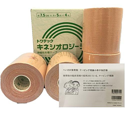キネシオロジーテープ ソフトタイプ(ウェーブ加工)1箱 へいさか接骨院テーピング理論小冊子セット (7.5cm×5m4巻)