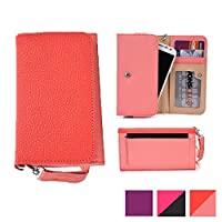 Cooper Cases(TM) Glamour 女性向けクラッチ Prestigio MultiPhone 5300 Duo / 5500 Duo ユニバーサル スマートフォン ウォレット(コーラル/ピンク)(取り外し可能なリストストラップ、カード/身分証入れ、スリップポケット、ジッパーポケット付き)