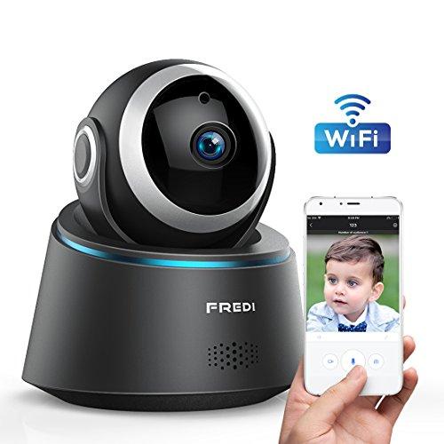 FREDI ネットワーク防犯カメラ 監視カメラ 1080P高画質HDワイヤレスセキュリティカメラ WiFi対応ベビーモニター 遠隔監視・操作 録画録音 双方向音声 多台接続 赤外線ナイトビジョン 暗視撮影 動体検知 iOS/Android/Windows対応 日本語取扱説明書