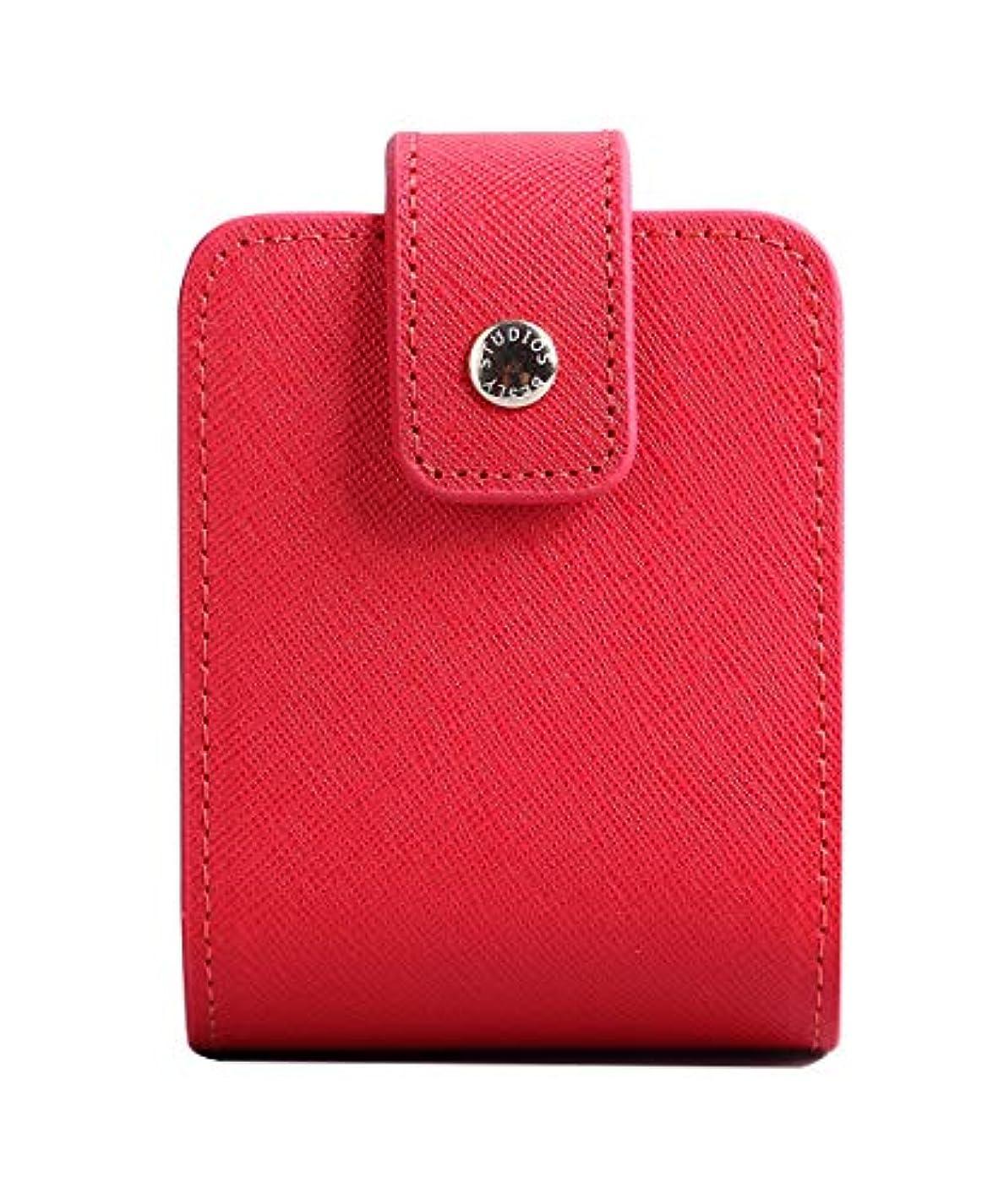 免除するフリース守るBESLY 女性用リップ化粧ポーチ リップを収納する ミニサイズ 携帯しやすい 人工製 赤 牛革