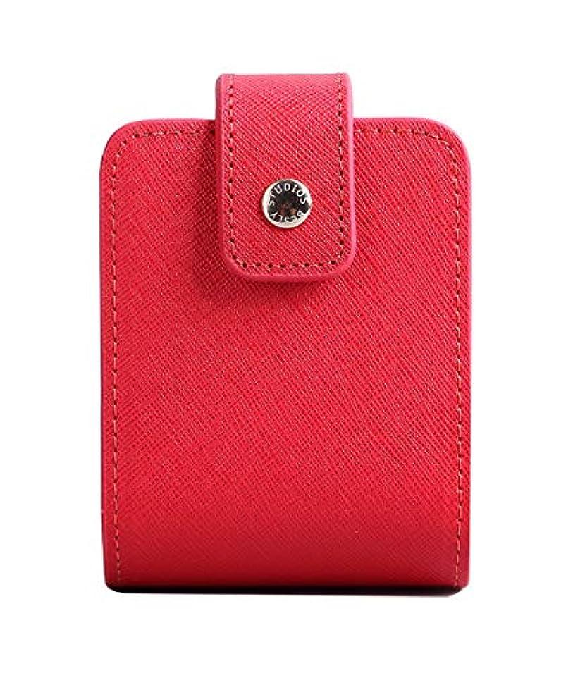 備品節約するあいにくBESLY 女性用リップ化粧ポーチ リップを収納する ミニサイズ 携帯しやすい 人工製 赤 牛革