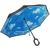 PLEMO 長傘 逆さ傘 逆折り式傘 UVカット 晴雨兼用 手離れC型手元 耐風傘 撥水加工 ビジネス用車用 晴天の空 爽やか 124センチ