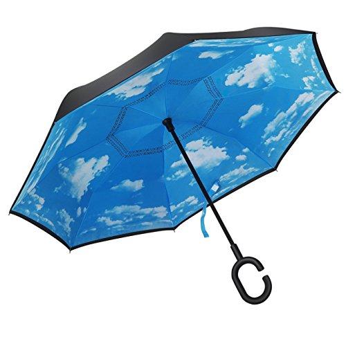 (アドンルル)adunlulu長傘 逆さ傘 逆折り式傘 手離れC型手元 耐風傘 撥水加工 ビジネス用車用 晴天の空 爽やか blue