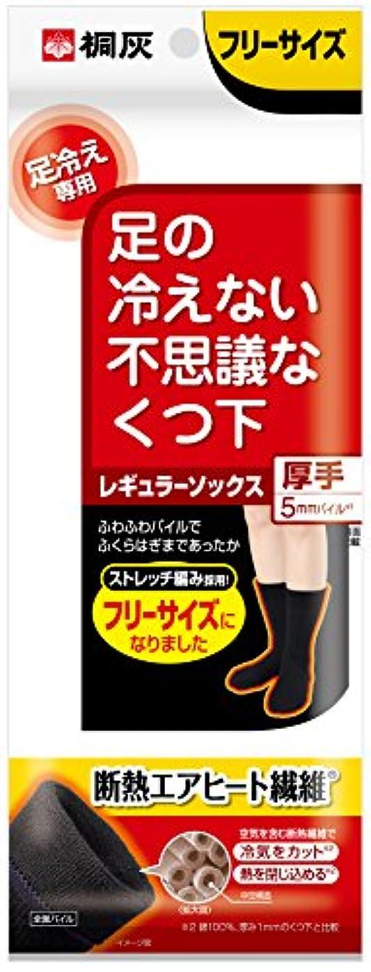 光沢知的ブリッジ桐灰化学 足の冷えない不思議なくつ下 レギュラーソックス 厚手 足冷え専用 フリーサイズ 黒色 1足分