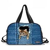[FOR U DESIGNS]個性的な柄 2 WAY 多機能 ダッフルバッグ ボストンバッグ サブバッグ マザーズバッグ sport bag boston bag ブラック 猫柄
