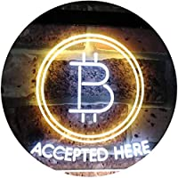 Bitcoin Accepted Here Cryptocurrency Display Dual LED看板 ネオンプレート サイン 標識 White & Yellow 300mm x 200mm st6s32-i3086-wy