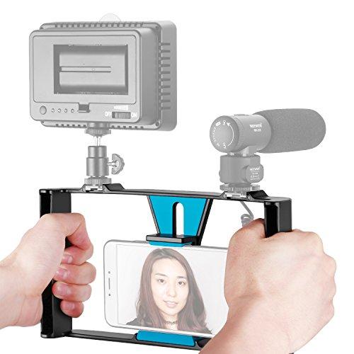 Neewer スマホビデオリグ 動画撮影 ブイログ リグケース 手持ちグリップ スタビライザー コールドシューマウント付 iPhone X/8/7 Plus Samsungと他の7インチ内のスマホ、LEDライト、マイクロホンに対応(黒+青)