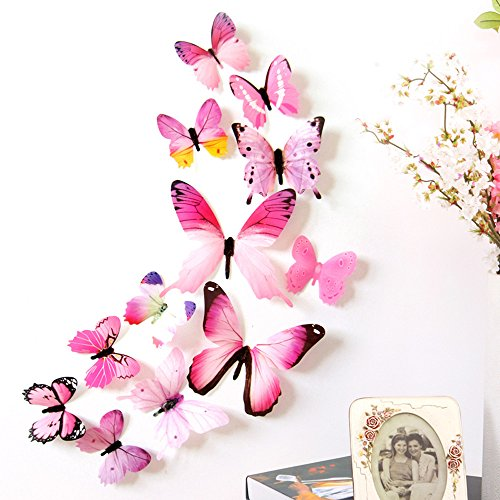 RoomClip商品情報 - 立体3D蝶々 Timsa かわいらしい蝶の部屋かざり 蝶 壁紙 立体 3D かわいい ウォールステッカー 壁紙シール 華やかな壁紙 ウォールステッカー インテリア 模様替え 12匹 蝶型貼り紙 寝室 リビング教室飾り用 人気 流行 (ピンク)