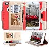 iPhone6s ケース iPhone6ケース ,Fyy 良質PUレザーケース 横開き 手帳型 カバー 二つ折り ウォレット/財布型/カード収納 化粧鏡 ミラー 付き ちょう結び ストラップ スタンド機能 マグネット開閉 保護カバー レッド