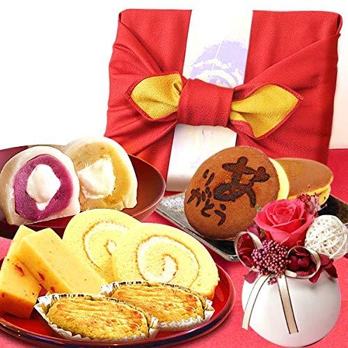 お祝い ギフト 竹かご風呂敷スイーツセット プリザーブドフラワー付 風呂敷赤 (白)