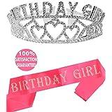 meant2tobeピンク誕生日Girlサッシ、ティアラ、誕生日Girlサッシ、クラウン、Happy BirthdayパーティーSupplies、Favors、デコレーション16日、21、30th、40th、50th、60th 70th 80th 90th Birthday