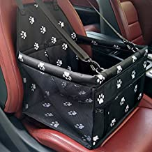 EVANPO Car Booster Seat For Dog and Cat - Folding Pet Car Seats Pet Car Travel Safety Seat - Portable Dog Carrier For Pets up to 25 Pounds Paw Pattern