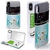 iPhone X/iPhone XS ケース カバー ミラー付き コスメ 香水柄 香水 オーシャン アイフォンX アイフォンXS アイフォンテンエス アイフォンテン アイフォン10 コスメ柄 貝 iPhoneケース