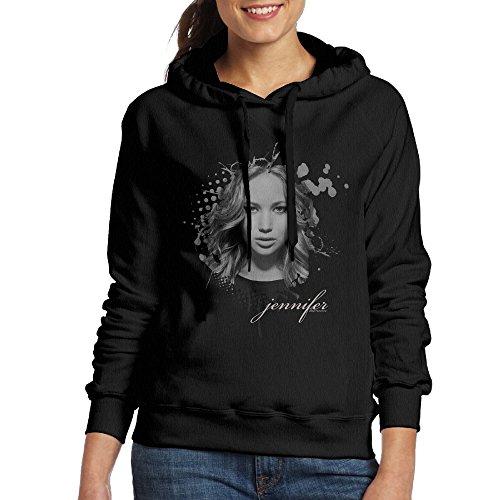 ちひろ ジェニファー ローレンス 人物 画像 ポスター 女性着 ファッション スウェットシャツ フード付き プルオーバーパーカー ジム Black