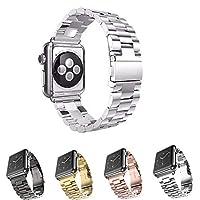 MEET RADE For Apple Watch バンド 40MM 44MM高級ステンレスベルド アップルウォッチ 交換バンド New apple watch series1/2/3/4対応 ステンレス 留め金製 金属 Apple Watch に専用 ビジネス風 時計 バンド 腕時計ストラップ (44MM, 銀)