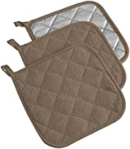 DII 100% Cotton, Machine Washable, Heat Resistant, Everyday Kitchen Basic, Terry Pot Holder, 7 x 7, Set of 3, Brown