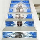 Yanqiao 18*100cm階段用の古い海賊船のステッカー 立体的で光煌かす壁紙 カッコイイ欧米スタイル 高品質 おしゃれ 防水または防潮