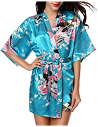Linyuan ファッション Comfortable Sexy Women's Robes Yukata Satin ナイトウエア Nightwear Short Style CL-WQ08