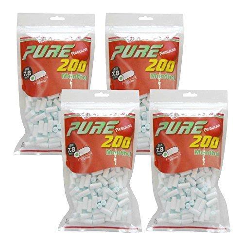 ピュア レギュラー メンソール フィルター 200個入り ×4パック 手巻きタバコ
