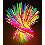"""Glow Sticks Bulk Party 100 pcs 8"""" Glow in The Dark Party Supplies Light Sticks for Neon Party Glow Necklaces and Bracelets for Kids or Adults"""