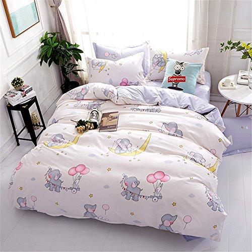 Lilisi Home【寝具カバーセット 4点セット】 2枚枕カバー、1枚掛け布団カバー、1枚ベッドシーツ かわいい赤ちゃんゾウ (ベビーゾウ, 1.5m ベッド)
