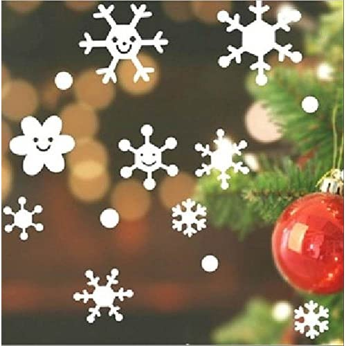 貼ってはがせる ウォールステッカー クリスマス キュートな 雪の結晶 (ホワイト, M)