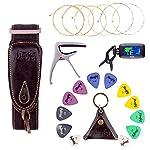 Mugig チューナー カポ ギターストラップ ギターピック 弦 アコースティックギターアクセサリ5点セット アコースティックギターキット