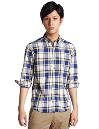 3/4 Sleeve Check Buttondown Shirt 3216-149-0333: Royal