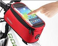 ROSWHEELサイクリングバイク自転車4.8インチモバイル携帯電話Pannierフロントトップチューブバッグ(レッド) by不明