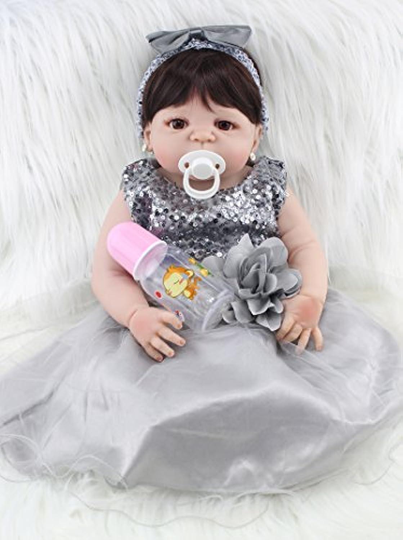 annedoll Lifelike 22インチGirlボディフルシリコンReborn Baby withイヤリング55 cm Lovely新生児女の子人形withグレードレスガールズ誕生日クリスマスギフト